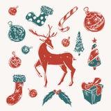 Satz rote und grüne Weihnachtselemente lizenzfreies stockfoto