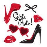 Satz rote und schwarze Elemente - Stöckelschuhe, Herz geformte Gläser, glatte Lippen, Bandbogen-Vektorillustration Stockfotos