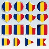 Satz Rumänien-Flaggen in einem flachen Design Stockfotos