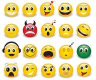 Satz runde gelbe Emoticons Stockfotografie