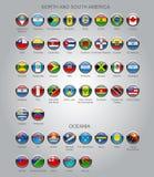 Satz runde glatte Flaggen von souveränen Ländern Stockbilder