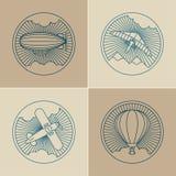 Satz runde Logoikonen Lufttransport und Fliegen Stockfoto