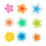 Satz runde Muster des Vektordreiecks Kaleidoskopblumenmandala Schablonen des modernen Designs, Vektorillustrationsmosaik Lizenzfreies Stockfoto