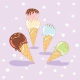 Satz süße Eiscreme Lizenzfreies Stockfoto