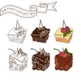 Satz süße Kuchen Stockbild