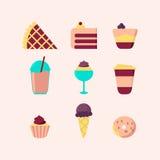 Satz süße Lebensmittelikonen Stockbilder