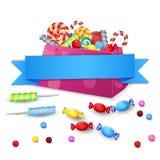 Satz Süßigkeiten in der Tasche lokalisiert auf weißem Hintergrund Stockbilder