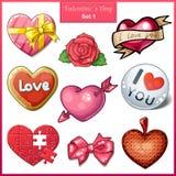 Satz Süßigkeitsherzikonen für Valentinsgruß-Tag Stockbild
