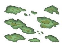 Satz Sümpfe in der isometrischen Art Lokalisiertes Bild des Waldsumpfes Landschaft 3d mit Karikaturfennen Stockbilder