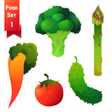Satz saftiges Gemüse, grüner Brokkoli und Lizenzfreie Stockfotografie