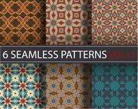 Satz, Sammlung, verpacken die nahtlosen Muster des Universalvektors und decken mit Ziegeln Geometrische Verzierungen Stockbild