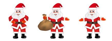 Satz Santa Claus hält eine Tasche voll von den Geschenken, die auf weißem Hintergrund lokalisiert werden Vektor stock abbildung