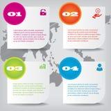 Satz saubere Zahlfahnen des modernen Designs benutzt für Websiteplan Infographic Stockbild