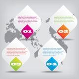 Satz saubere Zahlfahnen des modernen Designs benutzt für Websiteplan Infographic Lizenzfreies Stockfoto