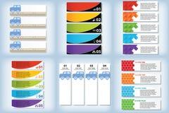 Satz saubere Zahlfahnen des modernen Designs mit dem Geschäftskonzept verwendet für Websiteplan oder Websitedesign Stockbild