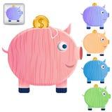 Satz schöne Sparschweine Lizenzfreies Stockfoto