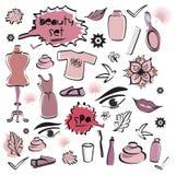 Satz Schönheits-Einzelteile/Badekurort/Mode kritzelt rote Farben Stockbild