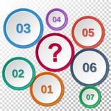 Satz Schablonen des farbigen Papiers mit Zahlen und einem Fragezeichen Lizenzfreie Stockfotos