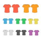 Satz Schablonen färbte T-Shirts für Männer Lizenzfreie Stockfotos