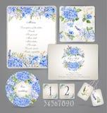 Satz Schablonen für Feier, heiratend Blaue Blumen Lizenzfreies Stockbild