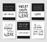 Satz Schablonen für Karten mit positivem Text über Wein Hand gezeichnete Vektormusterbroschüren und -beschriftung zitieren vektor abbildung