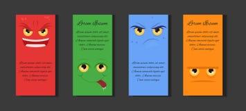 Satz Schablonen mit verschiedenen Karikaturgefühlen Stockbilder