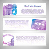Satz Schablonen oder horizontale Fahnen mit Lizenzfreie Stockfotografie