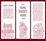 Satz Schablonen von Karten mit Strichzeichnungen von Lizenzfreie Stockfotos