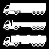 Satz Schattenbilder die Fracht-LKWs Stockbild