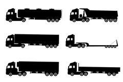 Satz Schattenbilder die Fracht-LKWs. Lizenzfreie Stockfotografie