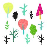Satz Schattenbilder und nette mehrfarbige Bäume eigenhändig gemalt lizenzfreies stockfoto