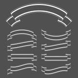Satz Schattenbilder von Bandfahnen Mit Platz für Text Eine einfache flache Vektorillustration lokalisiert auf einem schwarzen Hin Lizenzfreie Abbildung