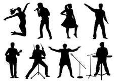 Satz Schattenbilder von den Musikern, von Sängern und von Tänzern lokalisiert auf Weiß Stockbilder