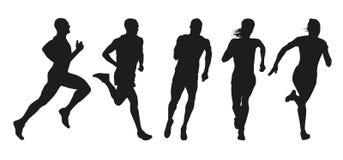 Satz Schattenbilder von Läufern Stockbilder