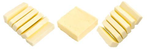 Satz Scheiben von Butter lokalisiert Stockfotografie