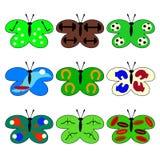 Satz Schmetterlinge mit Sportikonen auf den Flügeln Stockbilder