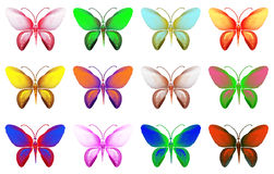 Satz Schmetterlinge von verschiedenen Farben lokalisiert auf weißem Hintergrund Lizenzfreie Stockfotografie
