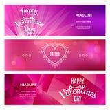 Satz schöne Fahnen an St.-Valentinstag Stockfotografie
