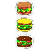 Satz Schnellimbissikonen des Vektors Hamburger, Cheeseburger, doppelter Burger, Burger mit Kopfsalat, Zwiebel, Tomate, Gurke und  vektor abbildung