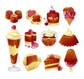 Satz Schokoladenkuchen Stockfotografie