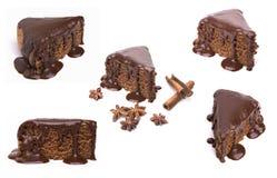 Satz Schokoladentorten lokalisiert auf weißem Hintergrund Lizenzfreies Stockbild