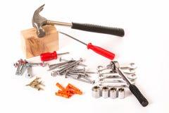 Satz Schrauben und Arbeitsgeräte Lizenzfreies Stockbild