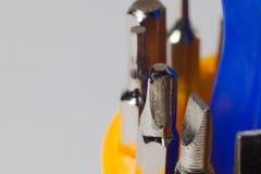 Satz Schraubenzieher in der Makrophotographie Lizenzfreies Stockbild