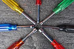 Satz Schraubenzieher, Sockelschlüsselwerkzeugkasten, Handwerkzeuge Lizenzfreies Stockbild