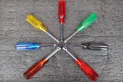 Satz Schraubenzieher, Sockelschlüsselwerkzeugkasten, Handwerkzeuge Lizenzfreie Stockfotografie
