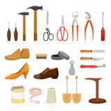 Satz Schuh-Reparatur-Werkzeug und Schuh-Zubehör Stock Abbildung
