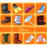 Satz Schuhe für alle Gelegenheiten Skizze für Feiertagsaufkleber, Karte oder Parteieinladung Sport, festlich, Freizeitschuhe vektor abbildung