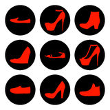Satz Schuhikonen der roten Frauen Stockfotos