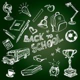 Satz Schulsymbole auf Tafel Stockfotos