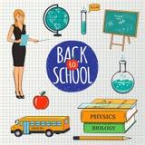 Satz Schulunterrichtende Gestaltungselemente Zurück zu Schulaufschrift und bunten Bildungsikonen für Ihr Design Stockbild